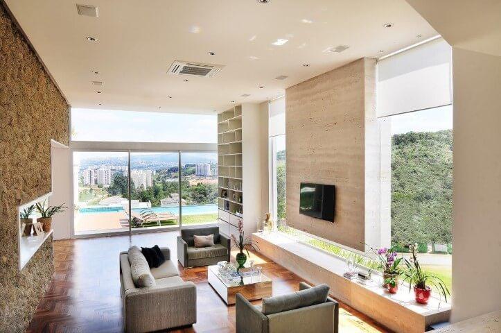 Decoração de Ambiente Moderno com piso Parquet