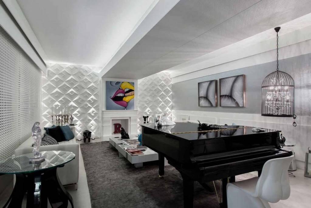 Sala decorada em preto e branco