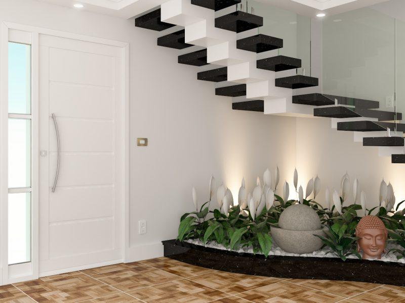 Em residências que não há muito espaço disponível, uma saída pode ser a instalação do jardim de inverno sob a escada. isso economiza espaço, e ajuda a integrar o jardim à outros ambientes da casa.