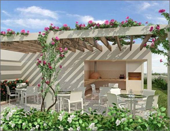 """Nesse modelo, a estrutura pergolada é coberta com trepadeiras do tipo """"três marias"""", famosas por se tornarem muito floridas na primavera."""