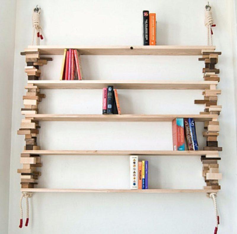 Prateleiras de madeira estilosas feitas com retalhos de madeira