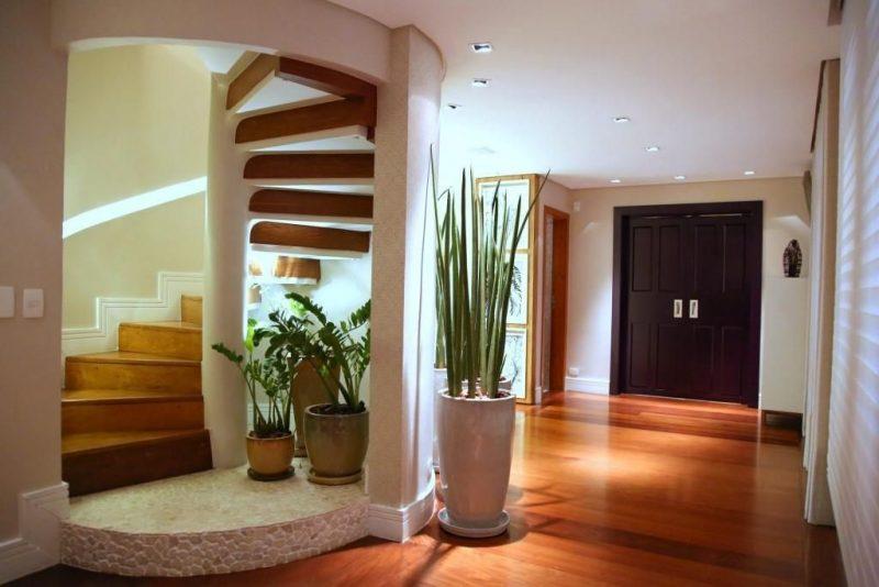 Escada caracol de madeira