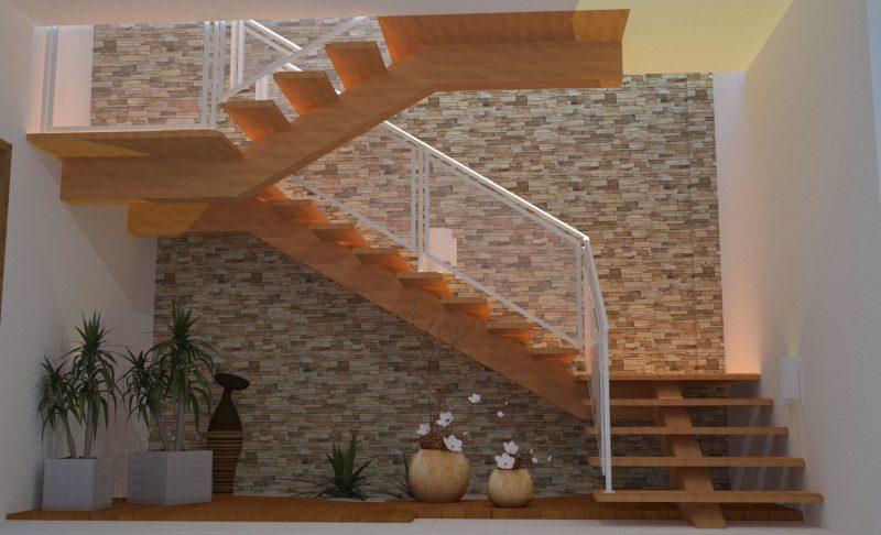 Escadas de madeira na sala ou ambiente de convivência