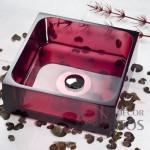cuba de acrílico rosa para banheiro