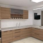 Uma bancada de cozinha feita em granito branco cristal