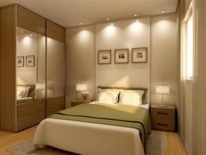 quarto de casal decorado com iluminação