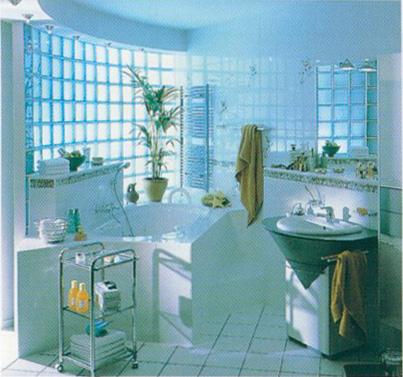 ambiente vedado com tijolos de vidro