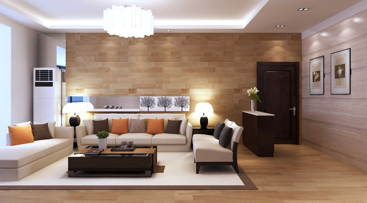 Parede de sala de estar de apartamento com cores claras