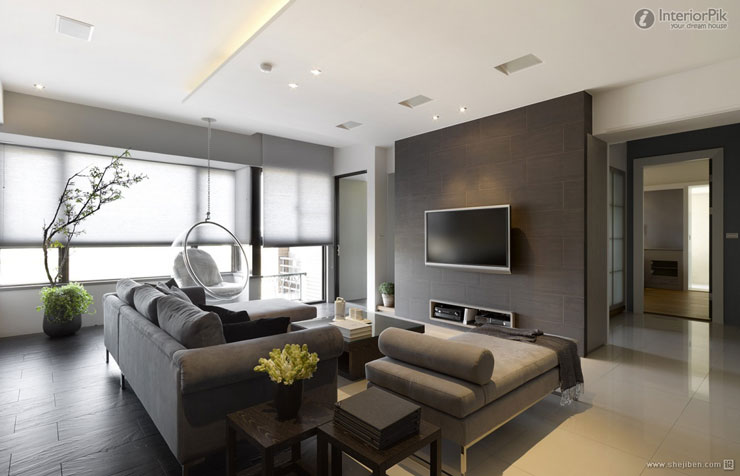 Apartamento decorado Moderno com Tons escuros e cerâmica