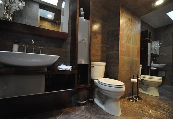 BANHEIROS DECORADOS  Decoração e revestimentos -> Banheiro Decorado Escuro