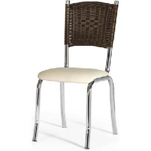 Cadeira para cozinha com encosto de vime