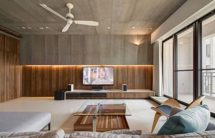 Apartamento contemporâneo revestido com placas cimentíceas