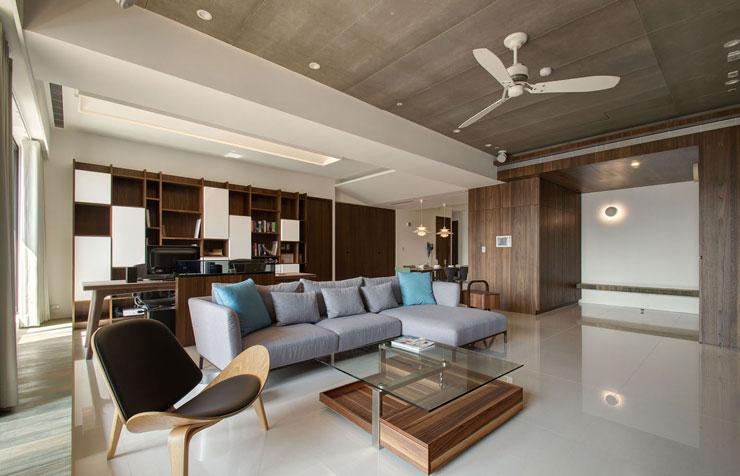 Decoração contemporânea de sala de estar e de escritório integrado
