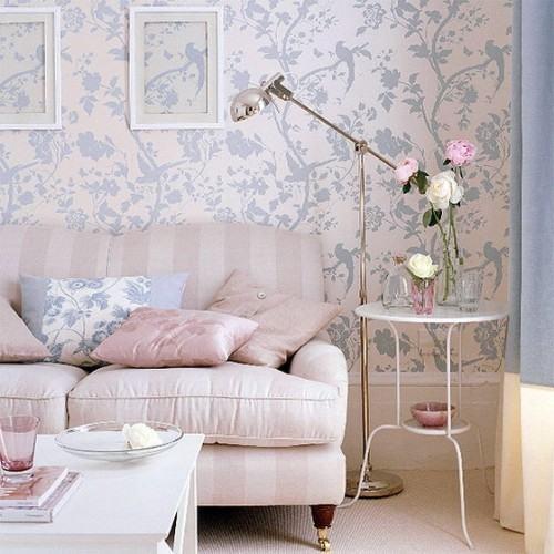 decoração com papel de parede claro na sala