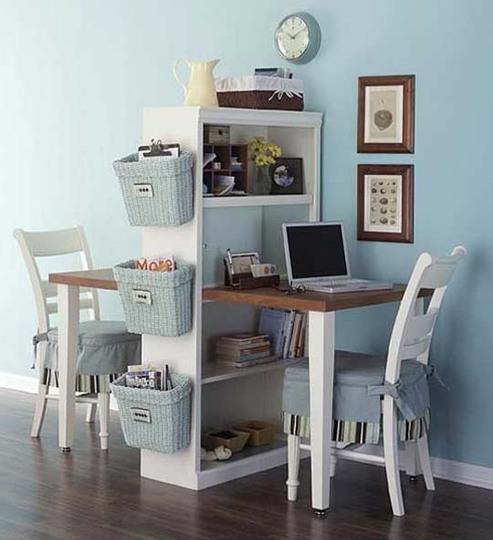 escrivaninha dupla para sala com estante