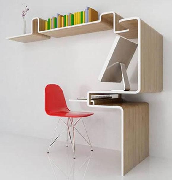 Escrivaninhas modernas com prateleira