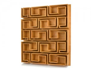 estante em madeira contemporânea