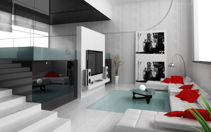 Já esse estilo de sala une cores contrastantes claras e escuras, com portos de transparência fornecidas pelo vidro.