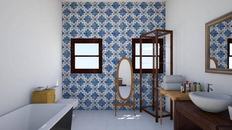 ladrilho hidráulico revestindo paredes de banheiro