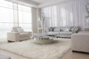 tapetes para sala branca decorada