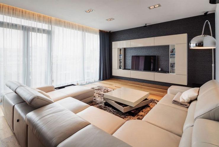 Decoração de sala de TV de apartamento