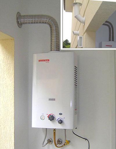 aquecedor a gás instalado