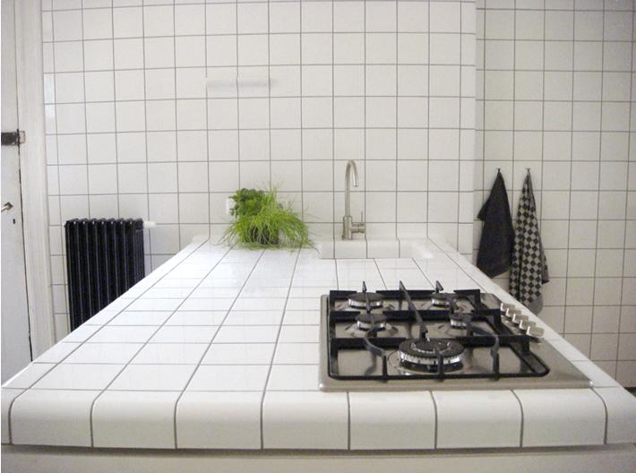 balcão de cozinha de azulejos