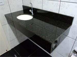 Pia para lavabo de granito preto