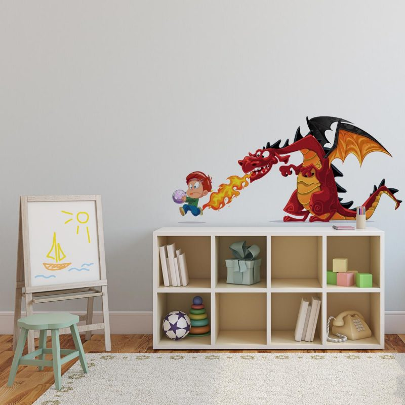 adesivo de parede decoração menino e dragão