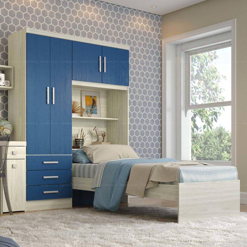 Guarda-roupas de meninos de duas portas em azul e branco