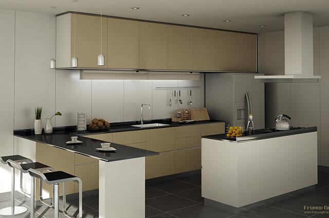 Balcão de cozinha com granito preto