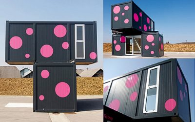 Casa de container rosa