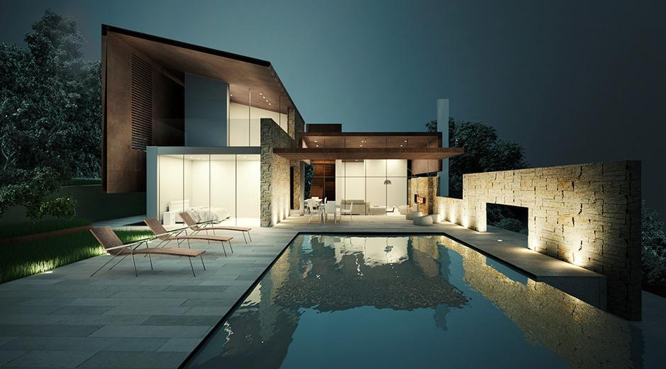 Fachada de casa contemporânea com roupagem moderna. Perceba suas linhas ortogonais e o uso do concreto aparente na construção, dando um belo ar de classe e luxo à construção.
