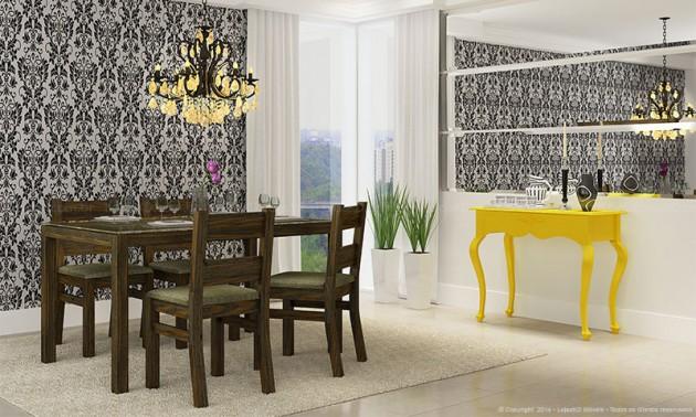 Sala decorada com espelhos