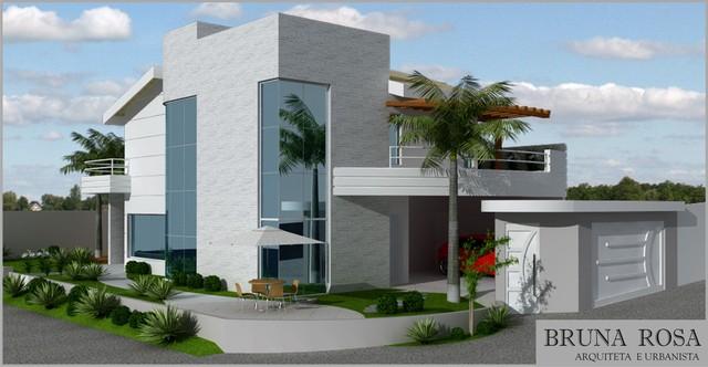 Fachadas de casas 2018 100 frentes modernas e baratas for Casas contemporaneas en esquina