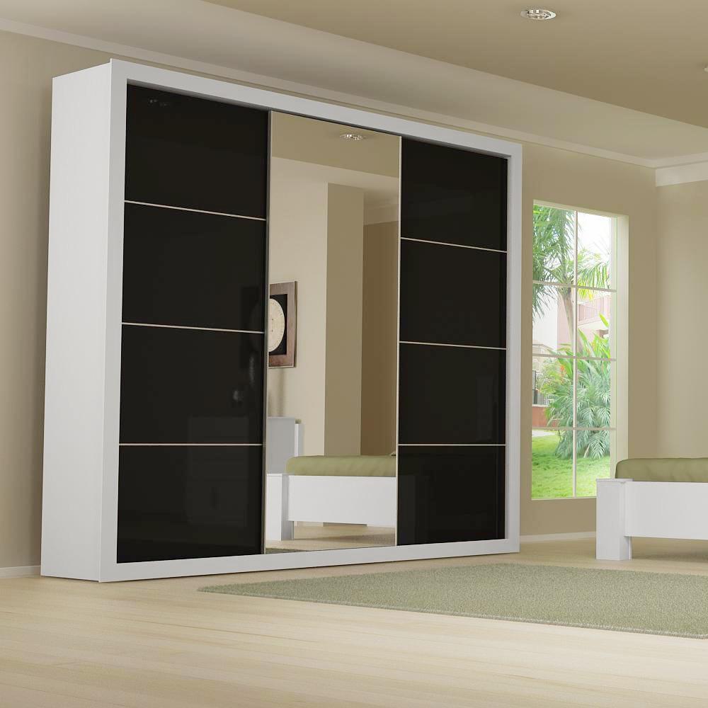 guarda roupa casa monaco branco com portas pretas de correr e central espelhada