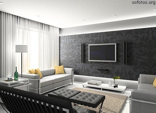 sala decorada tons de cinza
