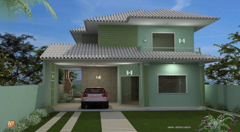 Fachada de casa com garagem ampla e telhado em caída