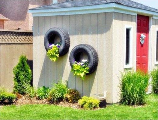 floreiras de pneus reaproveitados