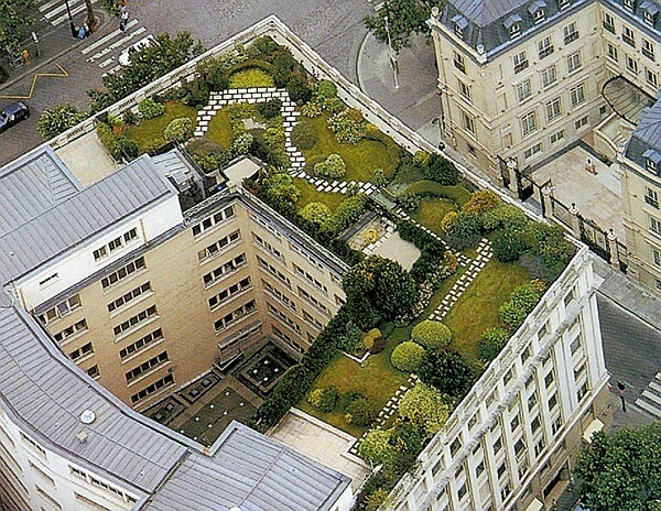 telhado verde jardim