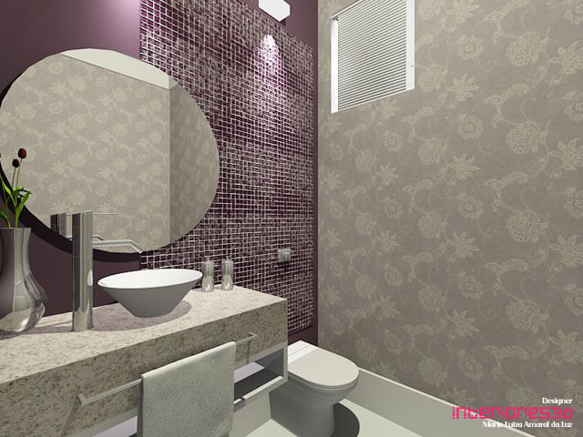 Banheiros com pastilhas lilás