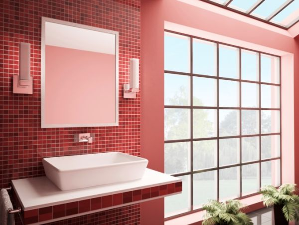 banheiros com pastilhas vermelhas