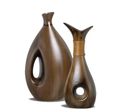 vaso cerãmico com textura de madeira - 2