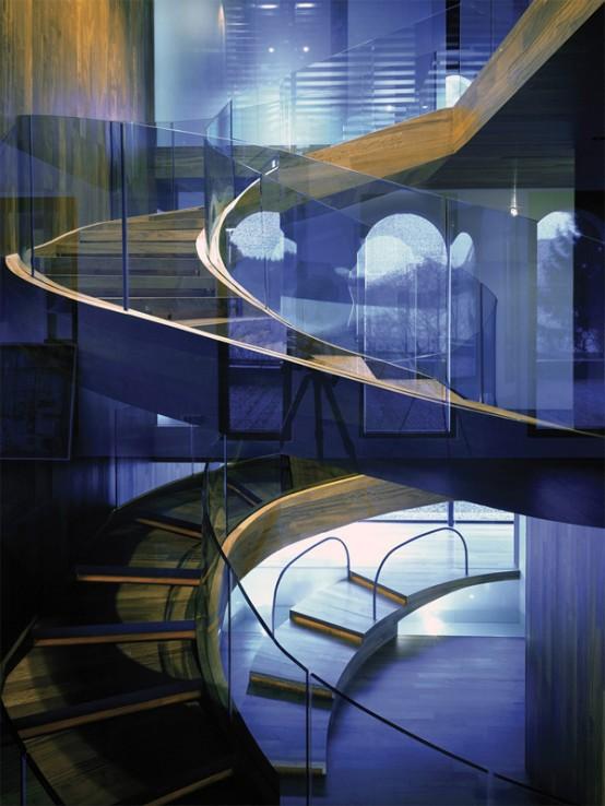 Esta escadaria enorme em urva foi projetada por OFIS arhitekti