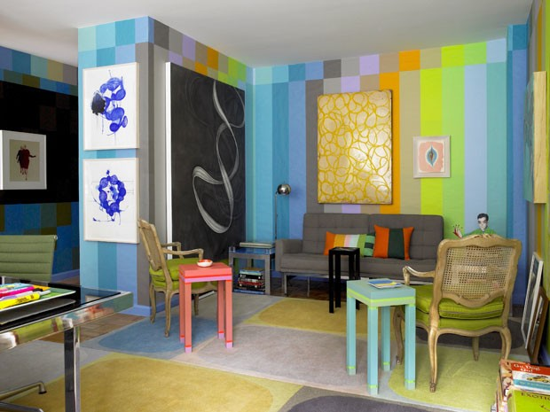 Ambiente decorado com material reciclado