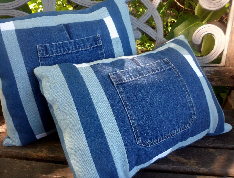 Capas de almofadas feitas de calça jeans
