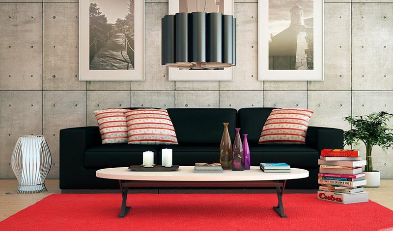 concreto aparente decorando a aprede de sala de estar