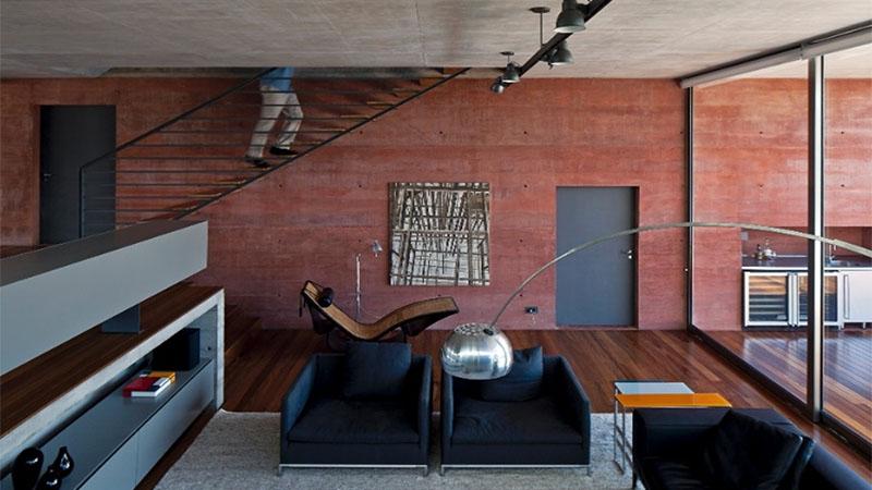 concreto colorido na sala