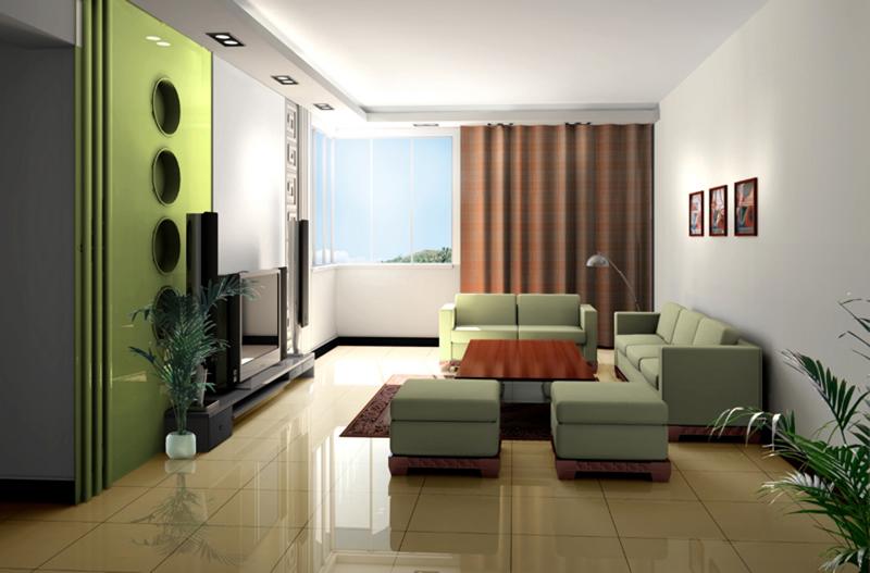 Sala decorada com uma parede no tom verde, quebrando a monotonia do ambiente e realçando a sala.