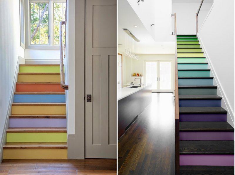 Ou você pode optar por uma paleta eclética e encher seu ambiente de vida através de sua escada de concreto